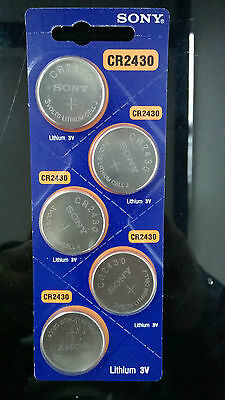 5 Piece Sony CR2430 Battery Lithium Cell Button Batteries