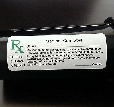 1000 Medical Marijuana Cannabis Rx (*ALL STATES*) Labels - 420 Stickers