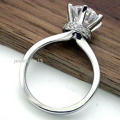 2.00 Ct Off White Real Moissanite Round Cut Engagement 925 Sterling Silver Ring
