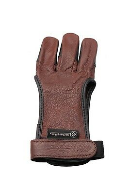 Wonderful Traditional Archery 3 Fingers Guard Brown Gloves For Hunter
