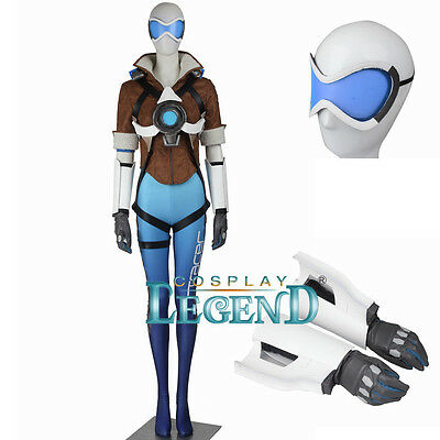 Overwatch Tracer Lena Oxton Cosplay Blue Full Costume Uniform Set Custom Made