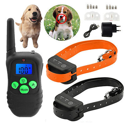 Rechargeable Vibra LCD Belt Pet Dog Training Collar Electric For Two dogs