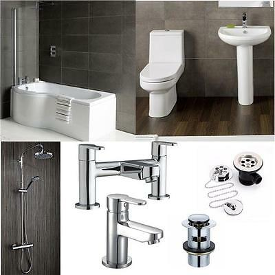 P Shape Full Complete Bathroom Suite Bath Sink Toilet Taps Shower Kit & Screen