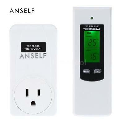 Anself Wireless Thermostat Plug LCD Remote Temperature Controller RF 433MHz V0K8