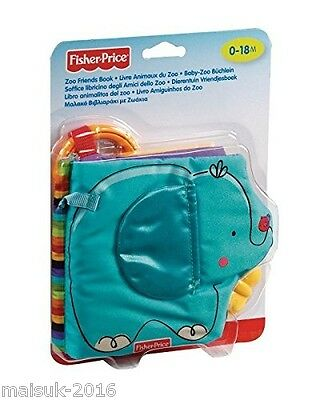 Fisher Price Baby Blue Elephant Zoo Teether Book Mattel T9239