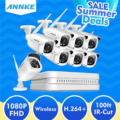 ANNKE 8CH Wireless System WIFI 1080P HDMI NVR 2500TVL Security IP Camera Antenna