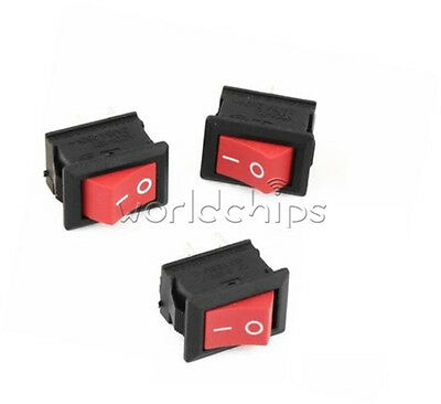 10Pcs NEW Red Rocker Switch 2 Pin KCD1-101 250V 6A Boatlike Switch WC