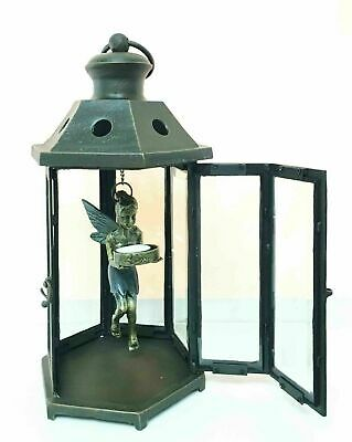 "Aluminum Pixie Dust Fairy Garden Hanging Lantern Tea Light Candle Holder 15.75""H"