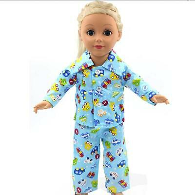 "Handmade Blue Pajamas fit 18"" American Girl & Our Generation Dolls Clothes"