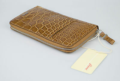 New. BRIONI Brown Crocodile Leather Travel Ticket Holder Large Wallet Bag $12750