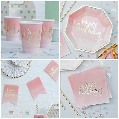 Gold & Pink Ombre 'Happy Birthday' Birthday Party Tableware & Decorations