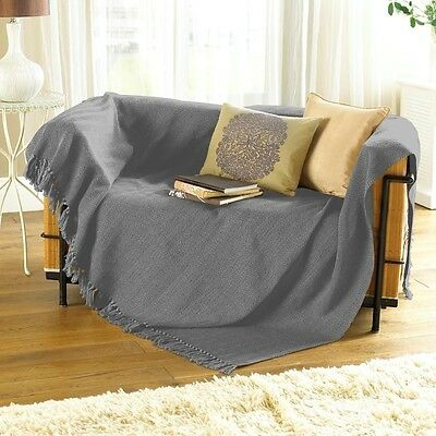Large & XL Grey Cotton Traditional Como Blanket Home Chair / Sofa / Bed Throws