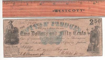 """1862 Mississippi Obsolete Currency~ $2.50 Note ~ """"Cotton Pledged Note"""" Vignettes"""