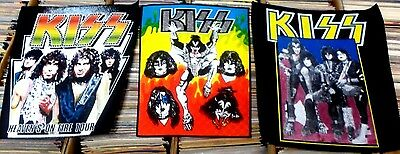 KISS Vintage Back Patches THREE DIFFERENT Heaven's On Fire GENE Paul ACE Peter
