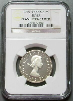 1955 Silver Rhodesia 2 Shillings Ngc Proof 65 Ultra Cameo
