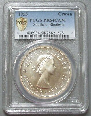1953 Southern Rhodesia 1 Crown Pcgs Proof 64 Cameo