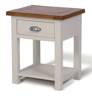 White Painted & Oak Side Table   Wooden Lamp Table   Bedside Cabinet/Nightstand