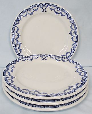 Daughters of Israel Buffalo China Blue and White Border Salad Plate Set of 4