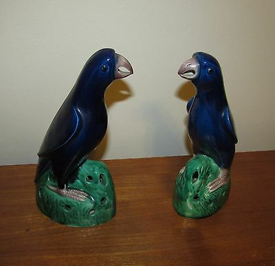 Pair of Chinese export blue glazed parrots