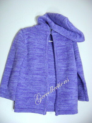 NEVADA Girl's PURPLE SPACE DYE L/S Knit Sweater Cardigan Jacket With Hood 4 EUC