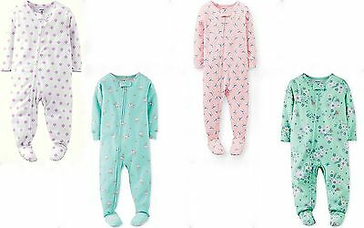 Carter's Toddler Girls Ditsy Seagull Footed Cotton Coverall Sleepwear 3T 4T NWT