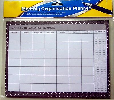 Monthly Organisation Planner 21x29cm Organisers Office School Work Things To Do