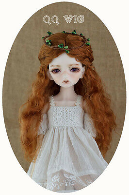 QQ4-02 7~8 inch Synthetic mohair Wig  fit 1/4 MSD BJD Doll Carrot color