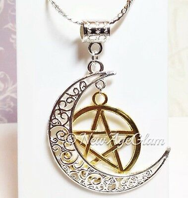 Crescent MOON PENTAGRAM*_Necklace Golden-Silver Chain Pendant_Wicca Pagan_N173