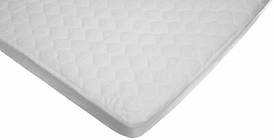 New Waterproof Quilted Cotton Portable/mini Crib Mattress Pad Cover White