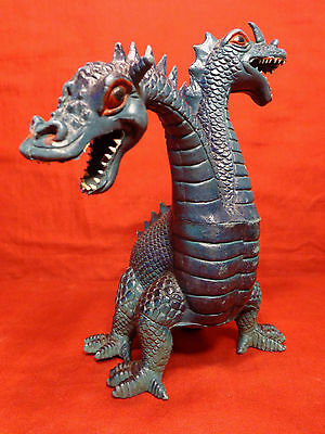 "2-Headed Dragon Monster Imperial 1983 Hard Rubber Two Headed Godzilla 8"" Tall"