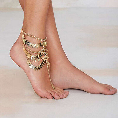 Gold Coin Anklet Sandal Foot Women Barefoot Bracelet Beach Ankle Chain Jewelry