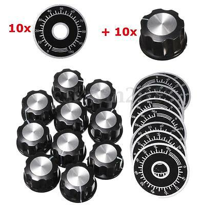 10Pcs Potentiometer Knob Rotary Cap for 6mm Shaft With Counting Dial 0-100 Scale