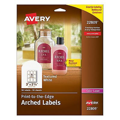 Avery Textured Print-To-The-Edge Arched Labels, Laser Printers, 3 x 2.25-Inches,