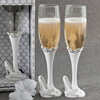 Pair of Fairy Tale Toasting Wedding Party Wine Champagne Flutes Glasses