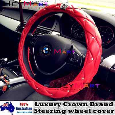 Luxury Crystal Crown RED Color Foam PU Leather Auto Car Steering Wheel Cover