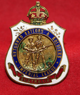 "WW1 ""Returned Sailors & Soldiers"" ""Imperial League"" Enameled Badge (inv. 7049)"