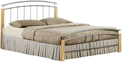 New Stunning Tetras Silver And Beech Metal 4'6  Double Bed