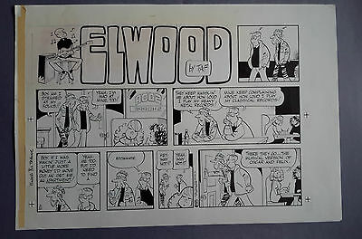 Elwood Sunday Strip 03-22-87, art Ben Templeton, original art with color guide