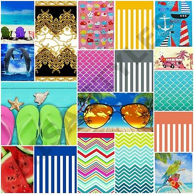 Large 100% Cotton Lightweight Beach Towel Bath Gym Sports Travel Camping Holiday