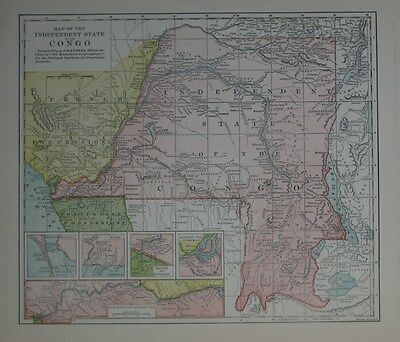 1896 Wauters Africa Map CONGO RIVER Leopoldville Matadi Stanley Livingstone Boma