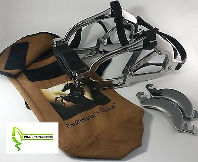 Equine Dental Speculum Horse Mouth Gag Stainless Steel Leather Millenium + Bag
