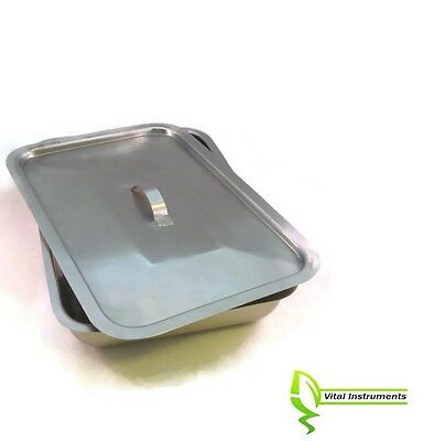 """Large Instrument Tray + Lid Stainless Tattoo/Piercing Surgical Medical 12""""x8""""x2"""""""