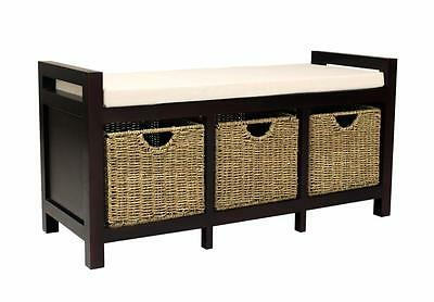 Cotswold Monks Bench Hallway Storage bench with 3 Baskets. Storage Bench seat