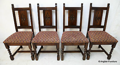 4 Old Charm Dining Chairs Tudor Brown Berry Wine Fabric. FREE UK Delivery