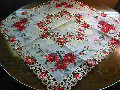 "Christmas Embroidered Tablecloth Cut Work Star Poinsettia 34"" SQ Red White Ecru"