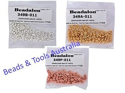Beadalon Crimp Covers 144pcs SILVER Plated GOLD Plated & COPPER Plated 3mm & 4mm