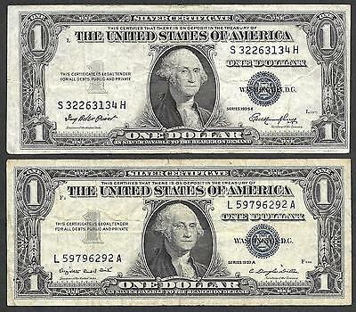 U.S. Silver Certificates - Two $1.00 Notes - 1935 & 1957 - FIne Condition