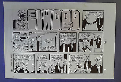 Elwood Sunday Strip 02-22-87, art Ben Templeton, original art with color guide