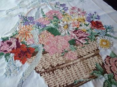 Stunning Basket Flowers & Bow ~ Picture Panel ~ Vintage Hand Emb /Cross Stitch