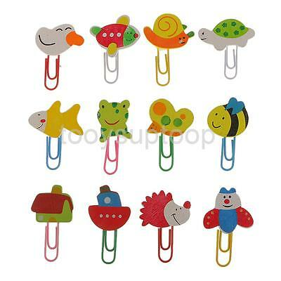 12x Animal Wooden Paper Clips Stationery School Office Kids Party Bag Filler